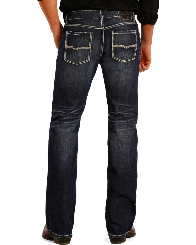 Rock & Roll Cowboy Men's and Pistol Dark Wash Jeans Straight Leg Indigo 33W x 30L