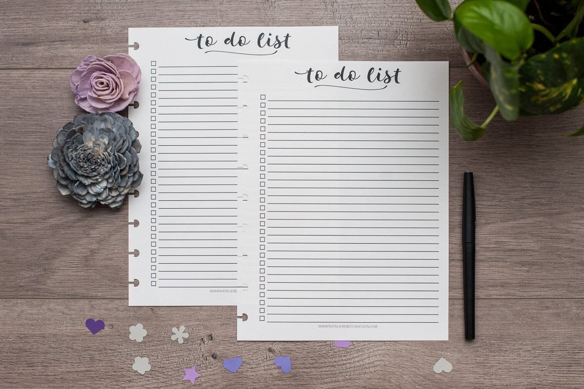To Do List for Letter Size Disc Bound Planners, Fits Circa, Arc, TUL, 8.5''x11'', Script Checkboxes