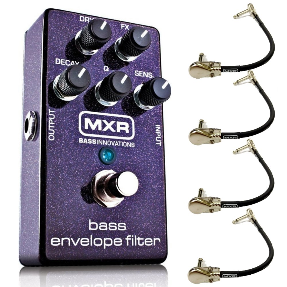 MXR M82 Bass Envelope Filter Effects Pedal Bundle with 4 MXR Right Angle Patch Cables by MXR