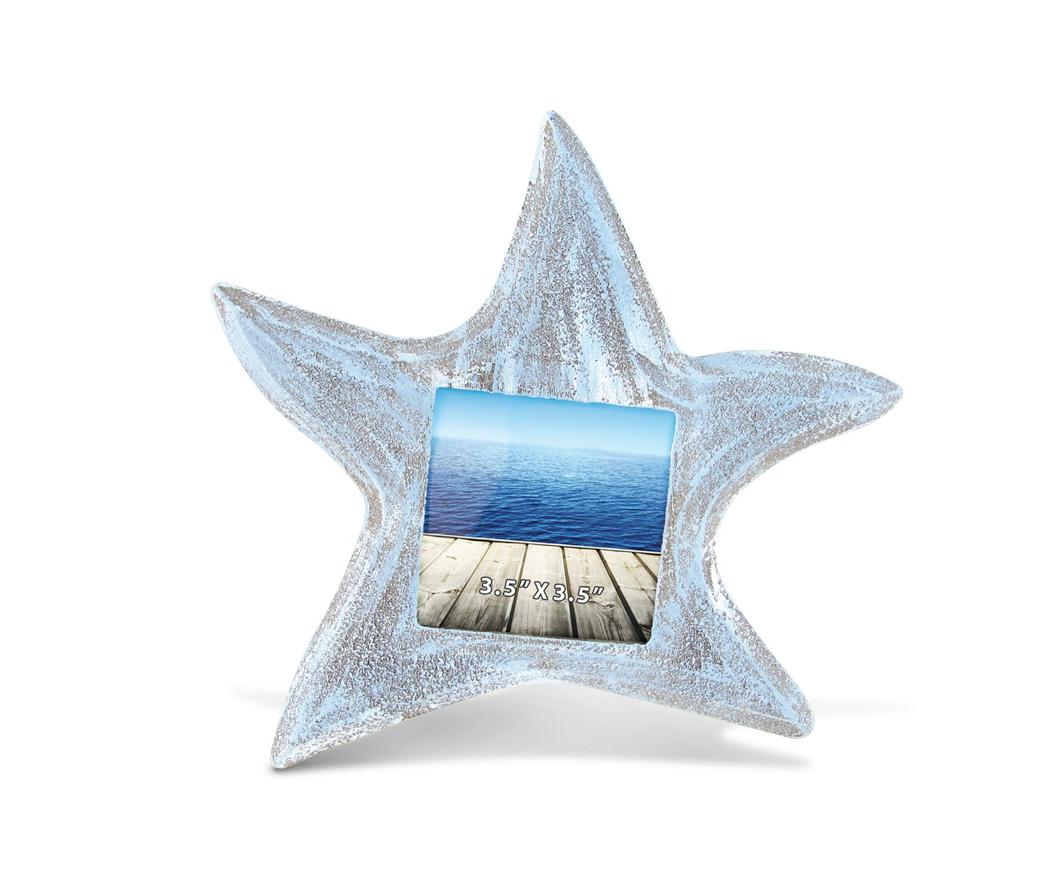 CoTa Global Starfish Inspired Photo Frame Nautical Handcrafted Resin Picture Holder Aquatic Ocean Life Beach Animal Frame Memories Bright & Unique for Marine Themed Rooms 3.5 x 3.5 Inch Home Decor Puzzled Inc.