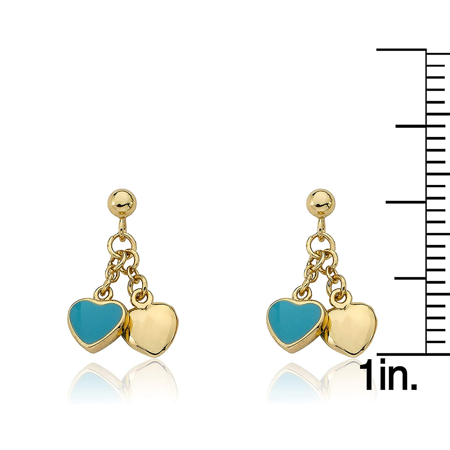 Surgical Steel Posts Little Miss Twin Stars I LOVE My Jewels 14k Gold-Plated Light Blue Heart /& Gold Heart Dangle Earring Safe for Sensitive Ears