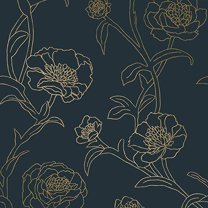 Tempaper Pe10633 Peacock Blue Metallic Gold Peonies Designer Removable Peel And Stick Wallpaper Amazon Com