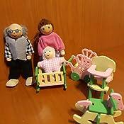 TOYMYTOY SET Miniature Seggiolone Lettino Carrozzina e Cavallo a dondolo di neonati in legno per giochi di bambini e decorazioni casa di bambole