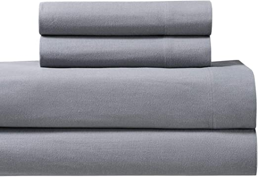 Amazon Com Royal S Heavy Soft 100 Cotton Flannel Sheets 5pc Bed Sheet Set Deep Pocket Thick Heavy And Ultra Soft Cotton Flannel Gray Split King Home Kitchen