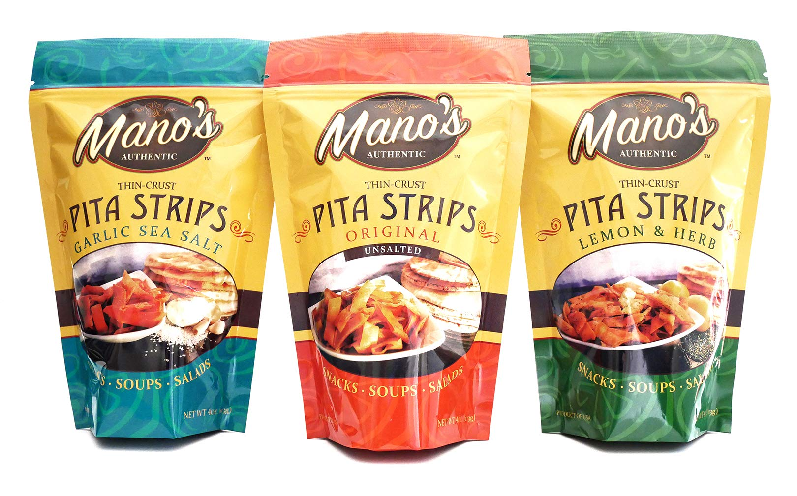 Mano's Authentic Pita Chip Strips Variety Pack - Healthy, Thin, Bite Sized Pita Chips - 12 Pack - Original, Garlic Sea Salt, Lemon & Herb (4 Bags Each) by Mano's Authentic