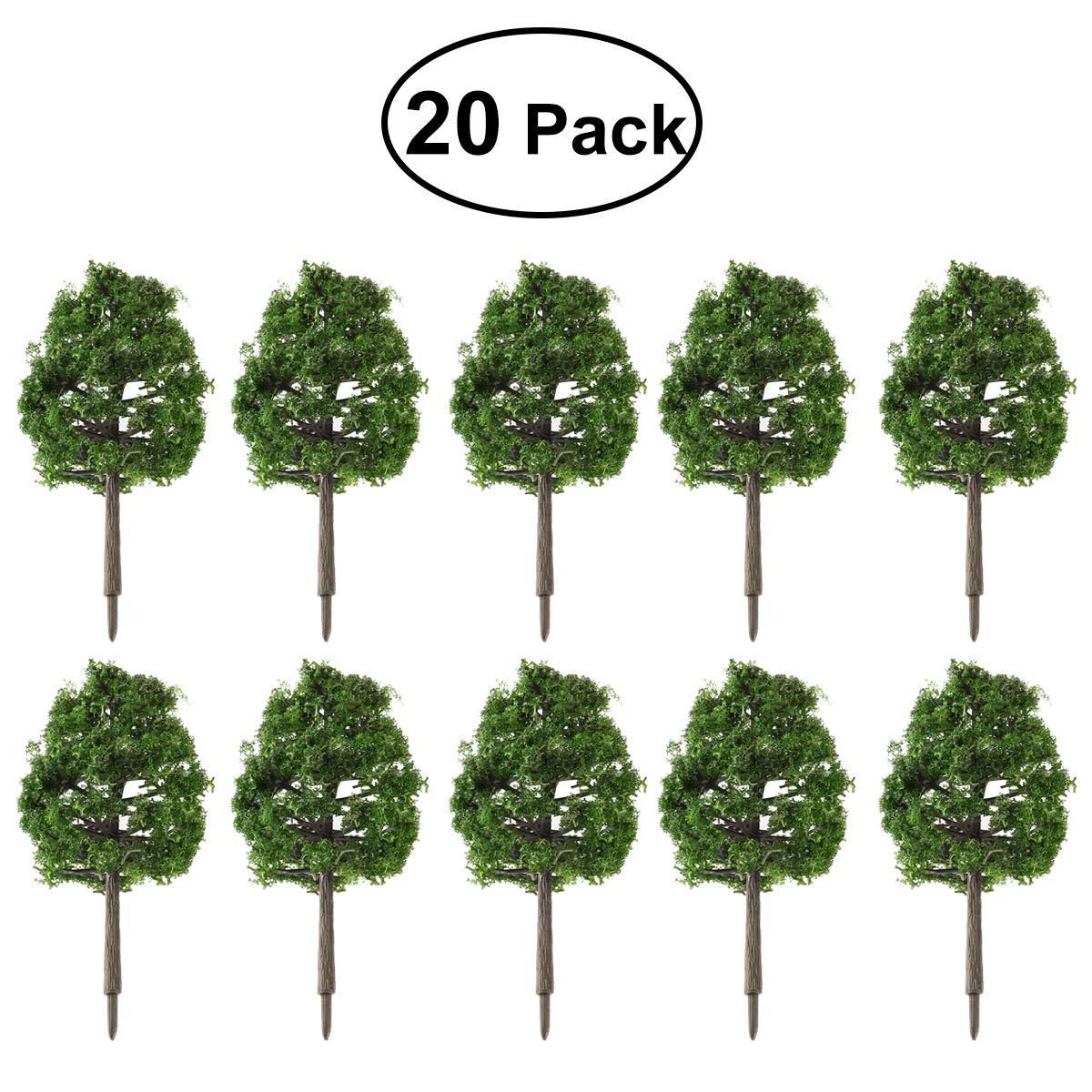 WINOMO 20pcs Model Trees Miniature Landscape Scenery Train Railways Trees Scale 1:100 Dark Green by WINOMO