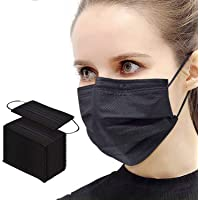 Pack of 50,Black 3 Disposable Protective Face Masks with Nose Clip Elastic Ear Loop for Home, Office,School, Outdoor and…