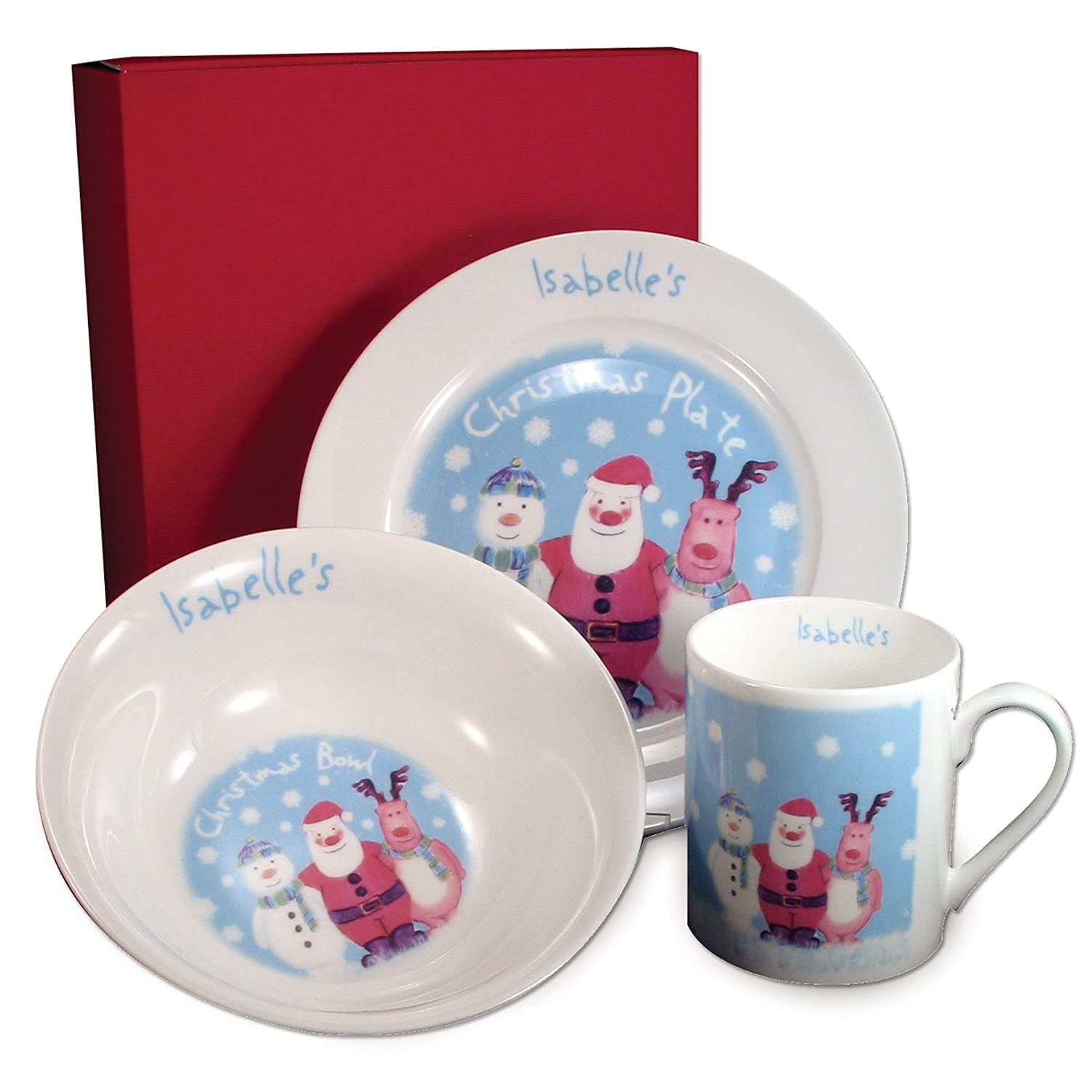 PERSONALISED Bone China Childrens Christmas Snow Scene Breakfast Set Plate Bowl Mug Gift for Amazon.co.uk Kitchen \u0026 Home  sc 1 st  Amazon UK & PERSONALISED Bone China Childrens Christmas Snow Scene Breakfast Set ...