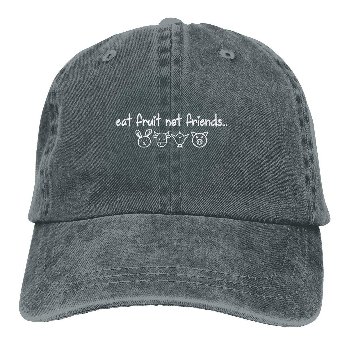 Eat Fruit Not Friends Cute Vegan Fashion Adjustable Cowboy Cap Denim Hat for Women and Men