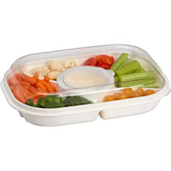 Party Platter Divided Portable Party Serving Tray Serving-Ware With Lid, |6| Extra Large Compartments for Dip, Appetizers, Snacks, Veggies, ...