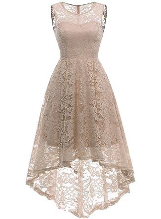 MUADRESS Elegant Kleid aus Spitzen Damen Ärmellos Unregelmässig  Cocktailkleider Party Ballkleid  Amazon.de  Bekleidung c5a3f5108a