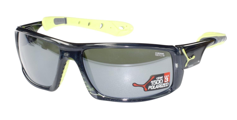 Gafas de sol Cébé Ice, gris translúcido/anís y verde, escudos para, espejo polarizadas/anti-destellos de luz con diseño de gato, 3 lentes de policarbonato: ...