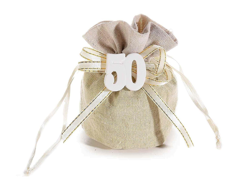 Ideapiu 12Bolsa Tela C/diseño de 50' Yeso y Cinta Costura Oro