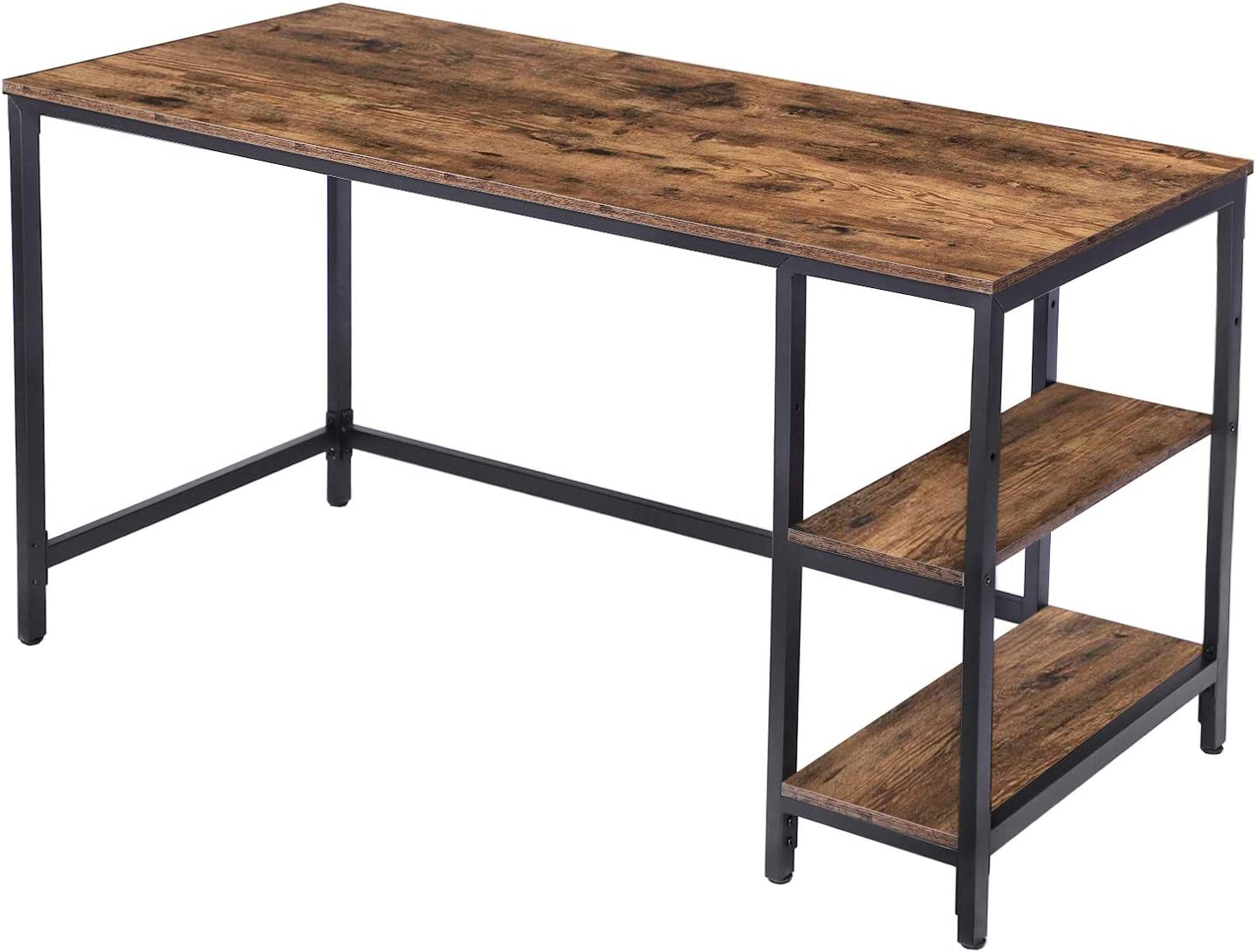 HOOBRO Computer Desk, Industrial Writing Desk with 2 Storage Shelves on Left or Right, 55 Inch Office Study Desk for Laptops, Sturdy Metal Frame, Easy to Assemble, Rustic Brown BF60DN01