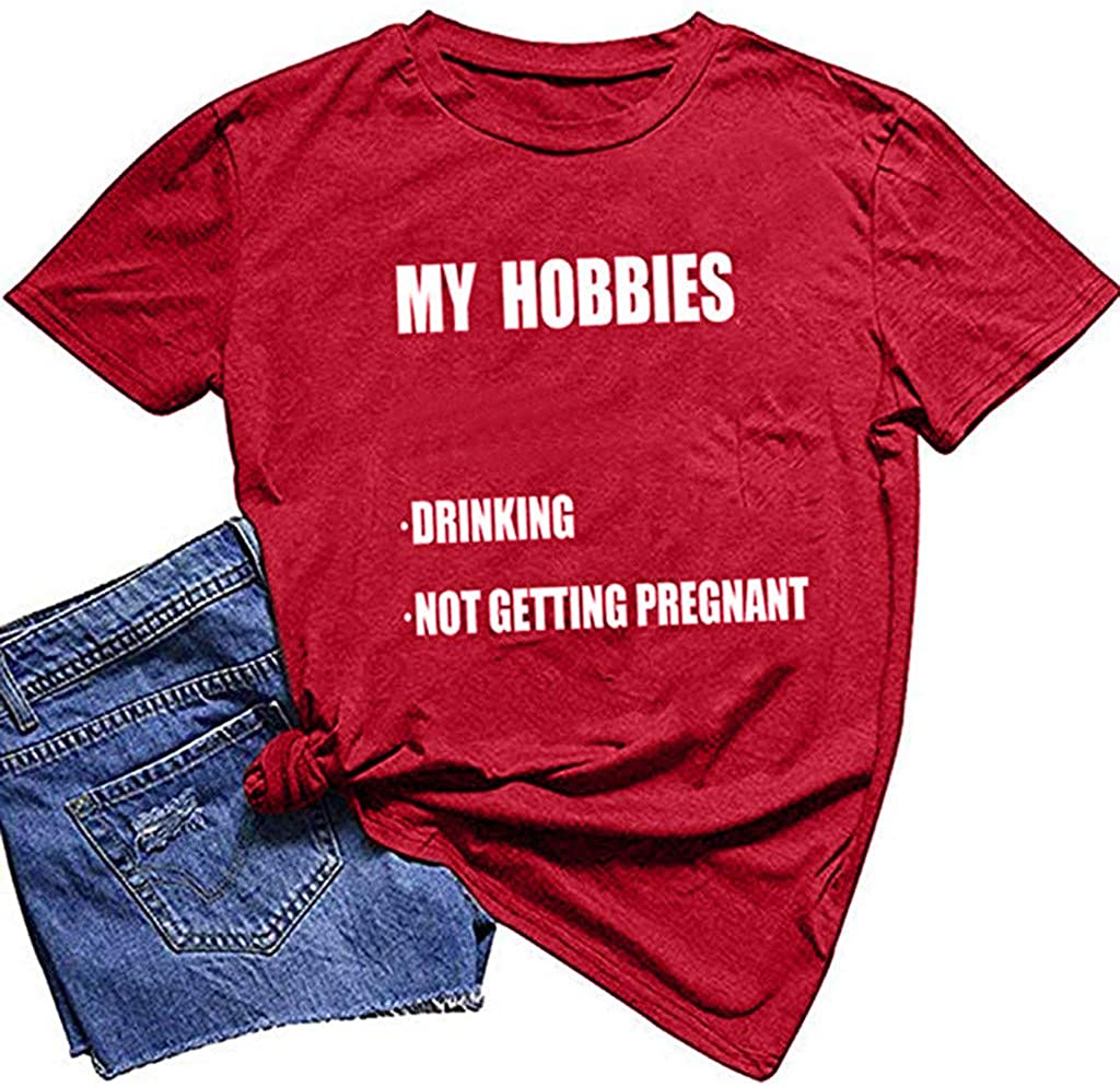 NANTE Top Womens Blouses My Hobbies Drinking Not Getting Pregnant T-Shirt Funny Baseball Tee Shirts Drink Graphic Tunic