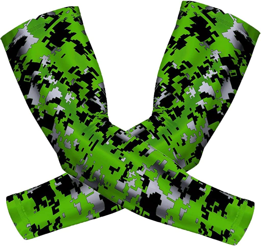 JUNAN Sports Compression Arm Sleeves 1 Pair Moisture Wicking UV Protection Cooling or Warmer Non Slip Cover Sleeve Green Camo