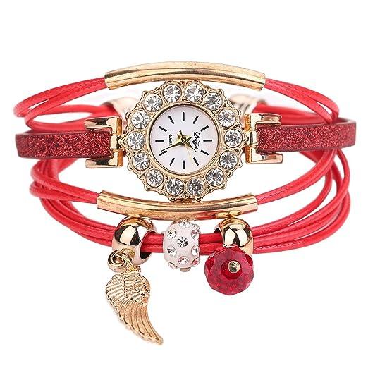 Pulsera del Reloj, K-youth® Retro Doradas Alas Colgante Cuarzo Reloj de Pulsera