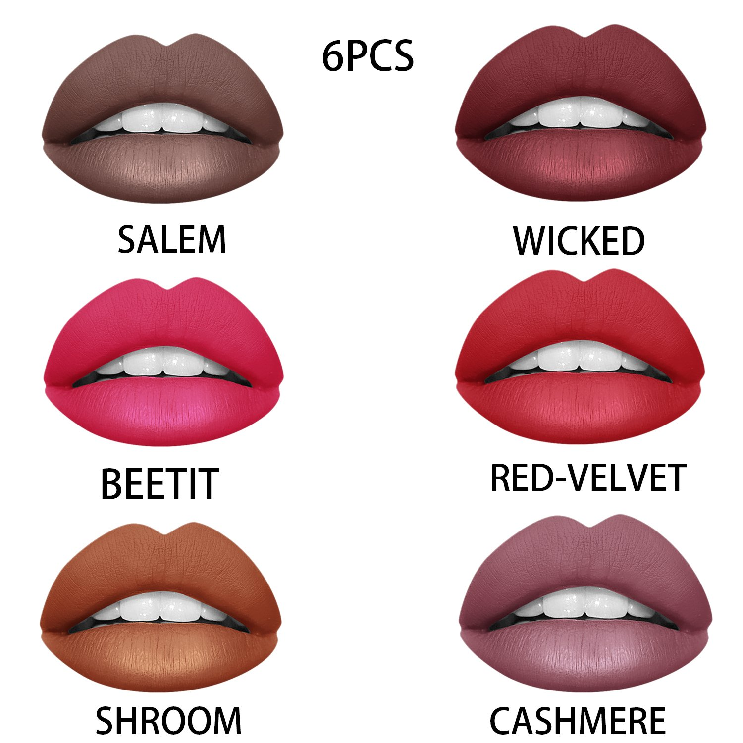 Ownest 6 Colors Waterproof Long Lasting Durable Matte Liquid Lipstick Beauty Lip Gloss, Sexy Moisturizing Lipstick Lip Gloss Fashionable Colors Long Lasting Lipsticks Set by Ownest (Image #2)