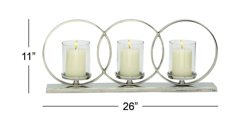 26 x 11 Deco 79 Aluminium Glass Candle Holder 26 W 11 H-37674
