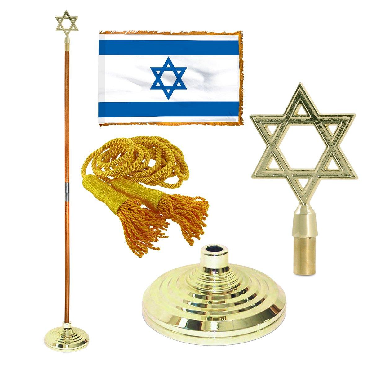 Israel 3ft x 5ft Flag, Flagpole, Base, and Tassel ( 7 Ft Oak Pole, Star of David)