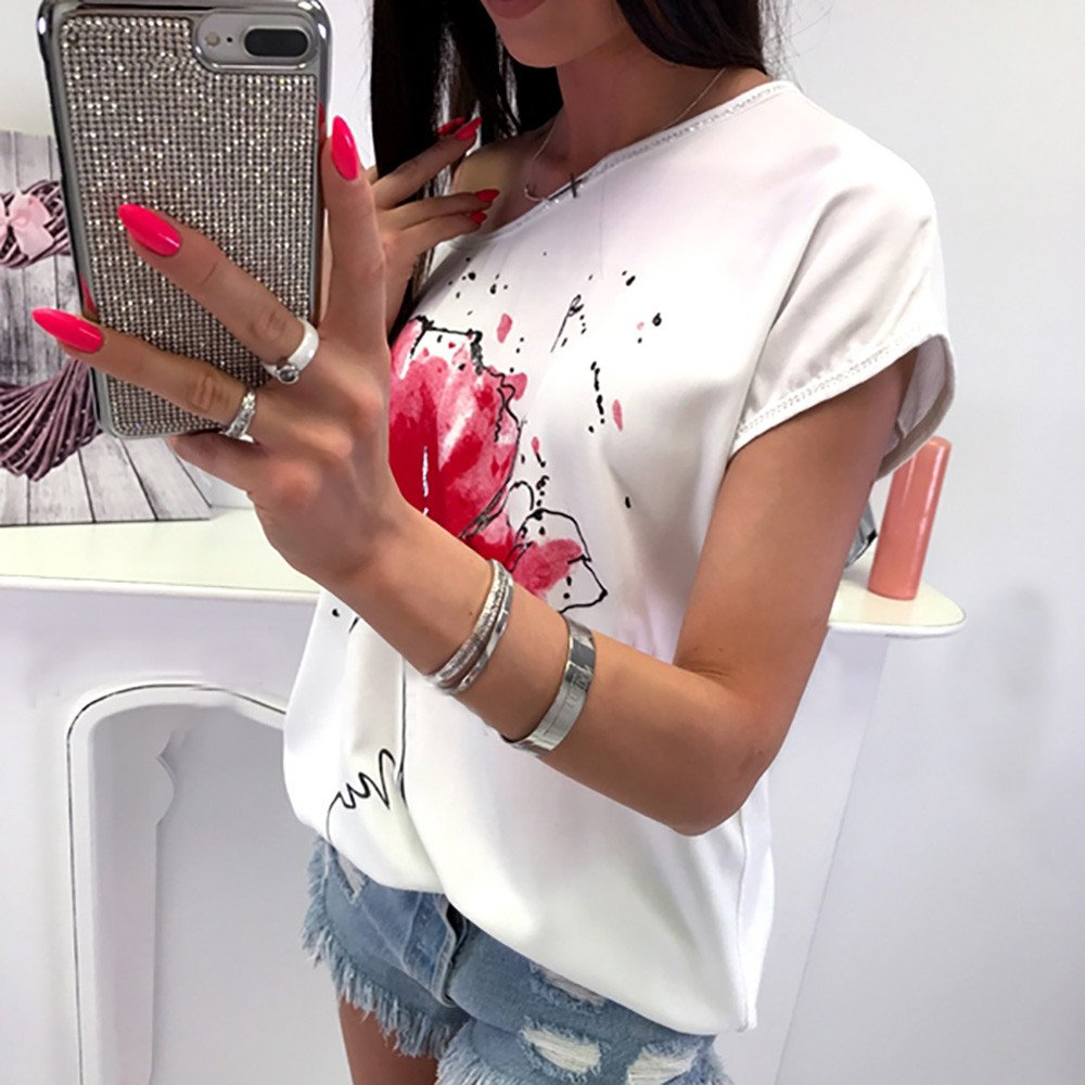 KYLEON Women T-Shirts Flowers Print Graphic Short Sleeve Solid Color O Neck Ladies Girls Summer Casual Blouses Tees Tops