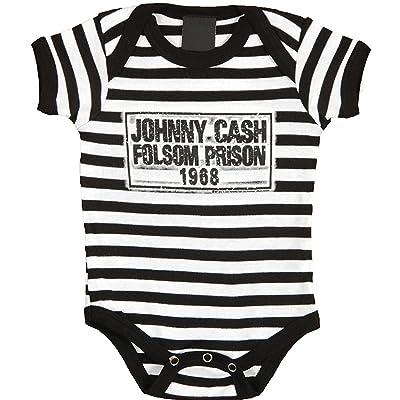 MERCH TRAFFIC Johnny Cash Folsom Prison Stripe Baby Bodysuit