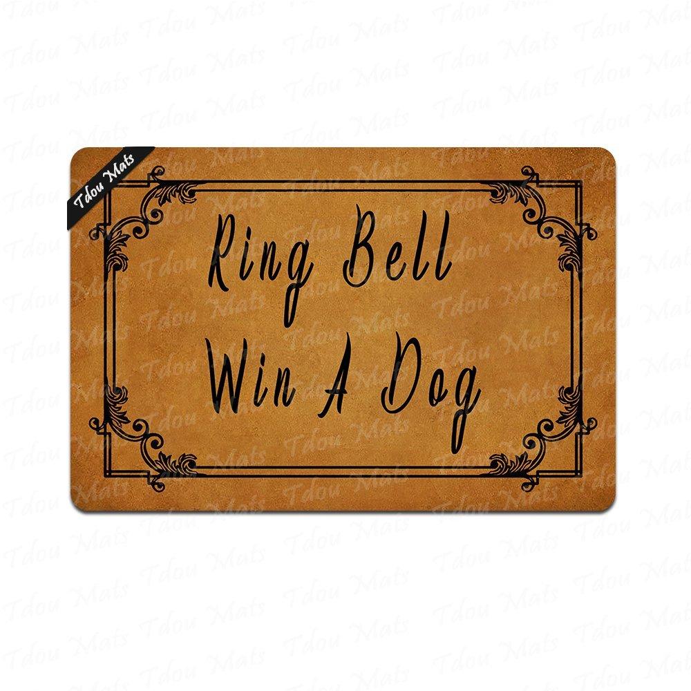 Tdou Door mat Ring Bell Win A Dog Doormats Monogram Non-Slip Doormat Non-Woven Fabric Floor Mat Indoor Entrance Rug Decor Mat 23.6 x 15.7 Inches