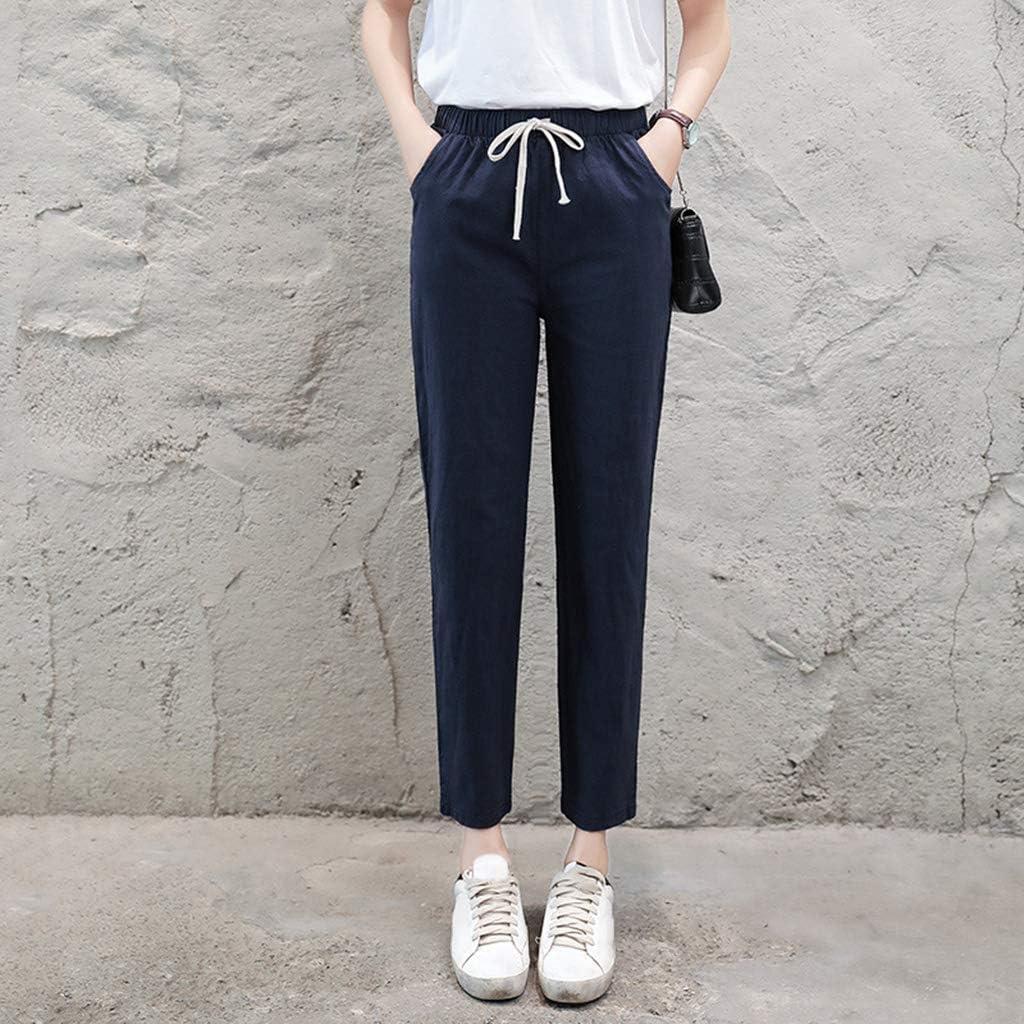 High Rise Sciolto Casual Cotone Lino Dritto Pantaloni Harem tagliata per le donne