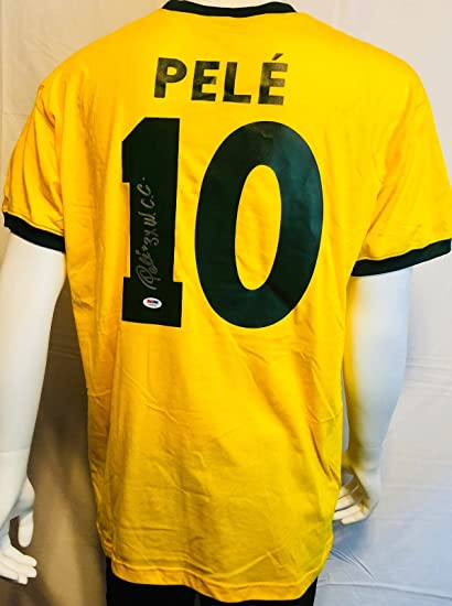 e78bfd61e48 Pele Signed Brazil Soccer Jersey w/