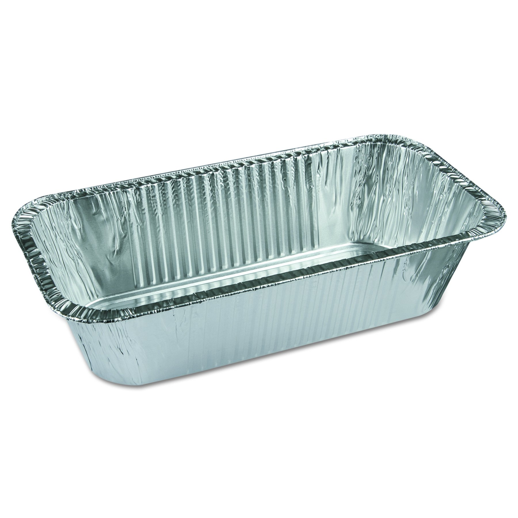 Pactiv Y6062XH Ribbed 1/3-Size Aluminum Bread Pans, 1 Compartment, 8 2/5w x 5 9/10d x 3h (Case of 200)