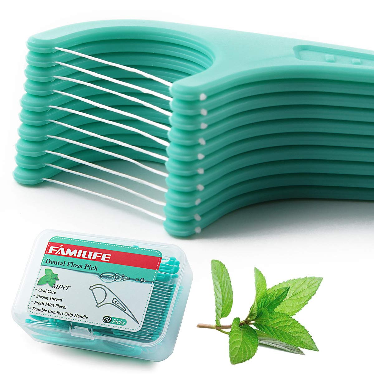 FAMILIFE Floss Picks Mint Dental Floss Picks with 4 Travel Handy Cases 240 Count Flossers: Beauty