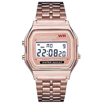 Footprintes Moda Vintage LED Reloj Digital Correa de Acero Inoxidable Alarma Reloj de Pulsera Vestido de Negocios Reloj de Pulsera para Hombres Mujeres: ...