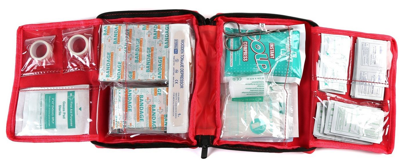 WELL-STRONG First Aid Kit 300 Pieces - Includes Splints, Bandages, Gauzes & Instant Cold Compress - for Travel, Car, Home, Office, Camping, Hiking, Hunting & Sports