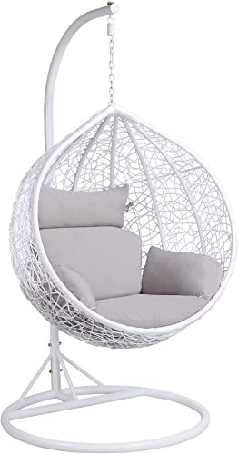 Yaheetech Rattan Swing Chair Hanging Garden Patio Indoor Outdoor Egg Chair with Stand Cushion