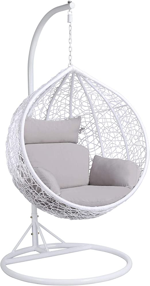 Yaheetech Rattan Swing Chair Hanging Garden Patio Indoor Outdoor Egg Chair With Stand Cushion And Cover White 150kg Capacity Amazon Co Uk Garden Outdoors