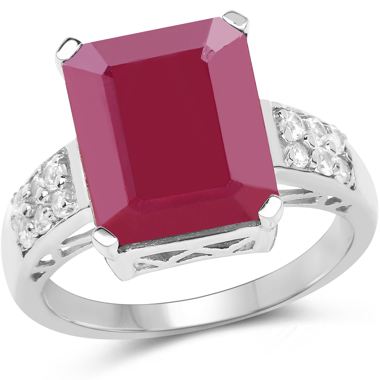 925 Sterling Silver Love Proposal Ring 7.26 Ct Glass Filled Ruby & White Topaz