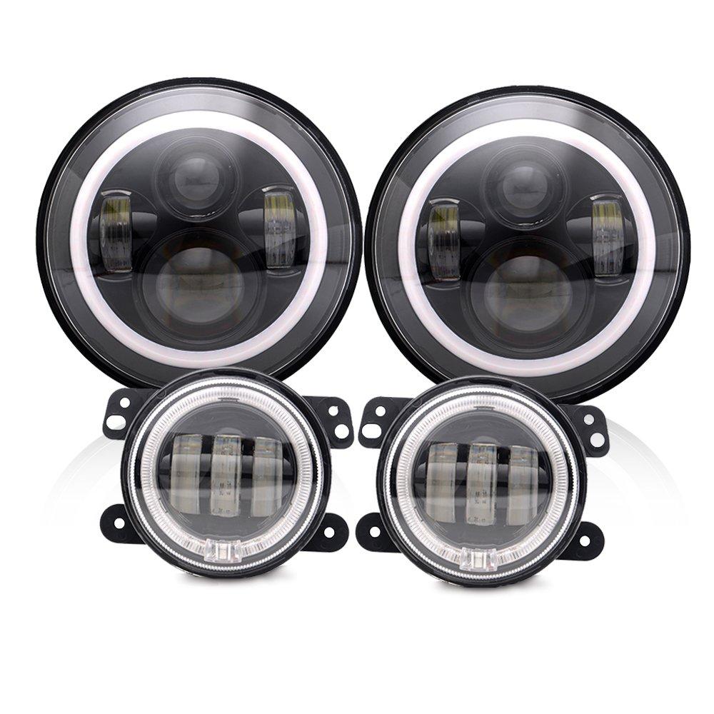 Spead Vmall 7 Inch 60W Black Jeep Wrangler LED Headlights with White DRL/Amber Turn Signal + 4 inch LED Fog Lights with White DRL Halo Ring for Jeep Wrangler 97-2017 JK LJ Tj Lj JKU Unlimited
