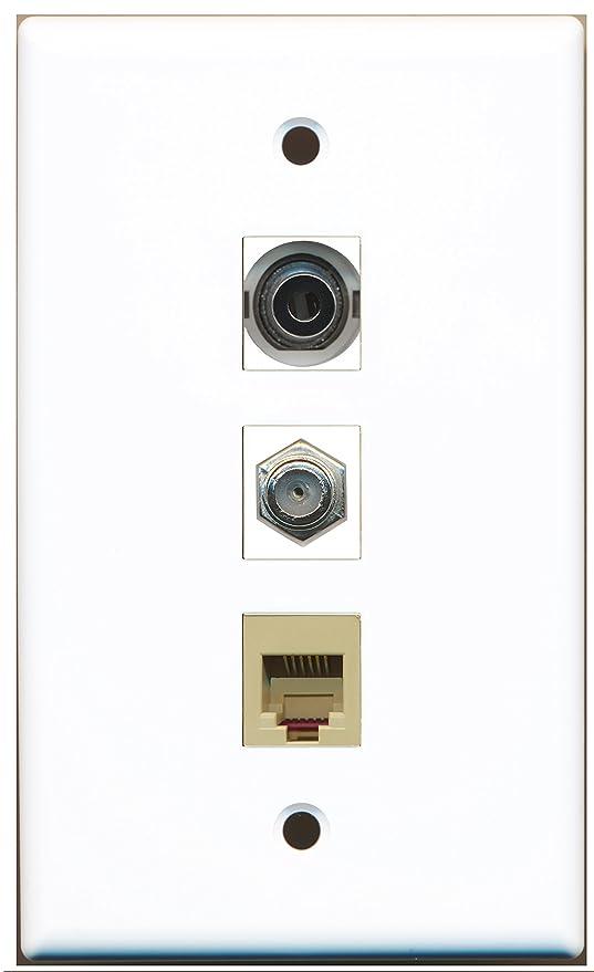 RiteAV – 1 puerto Cable Coaxial TV- Coaxial y 1 puerto teléfono RJ11 RJ12 Beige