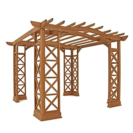 Yardistry Arched Roof Pergola Gazebos with Plinth, Tugboat - Amazon.com: Yardistry Arched Roof Pergola Gazebos With Plinth