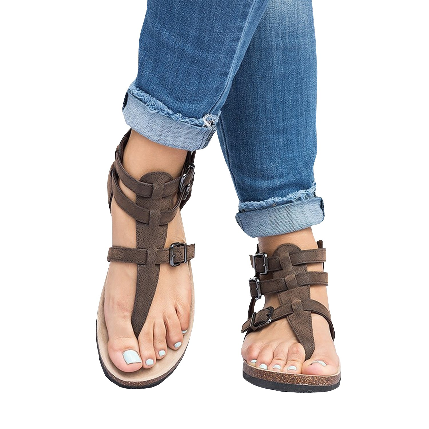 dacf269afee9 Amazon.com  Ruanyu Womens Thong Gladiator Sandals Ankle Strappy Buckle Cork Flat  Sandal  Clothing