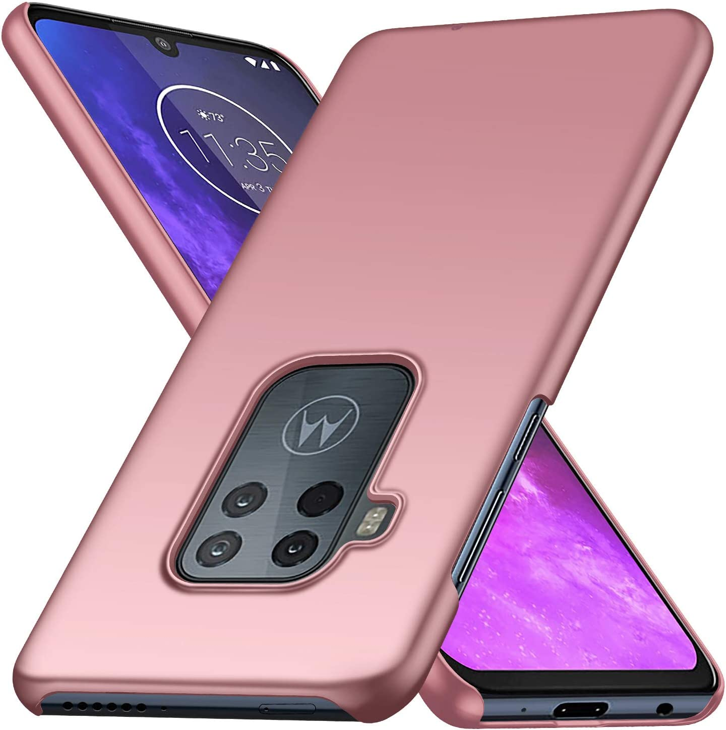 Motorola One Zoom Case, Almiao [Ultra-Thin] Minimalist Slim Protective Phone Case Back Cover for Motorola One Zoom (Smooth Pink)