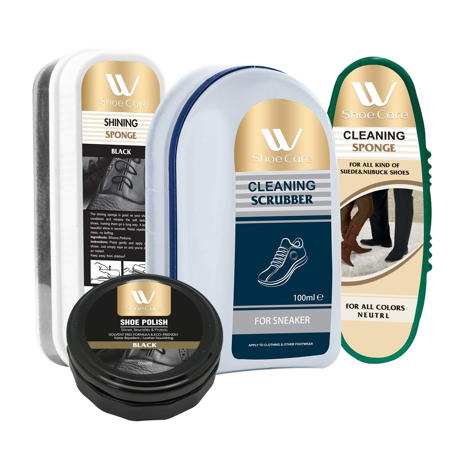 Shoe Care Kit | Cleaning Scrubber and Sponge, Shining Sponge and Shoe Polish