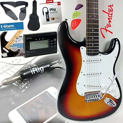 Fender Squier Bullet Strat guitarra eléctrica en Sunburst + iRig Guitarra Interfaz para iPhone y iPad