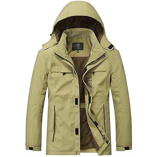 Amazon.com: YouzhiWan007 New Jacket Men Windbreaker Outwear Men Jackets Casual Loose Hooded Collar Pockets Mens Bomber Jackets Coats Hombre Khaki 4XL: ...