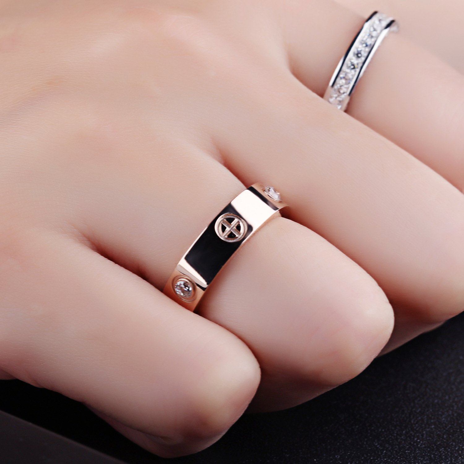 Amazon.com: YOYOMA Rings for Women, Gold and Silver Titanium Ring CZ ...
