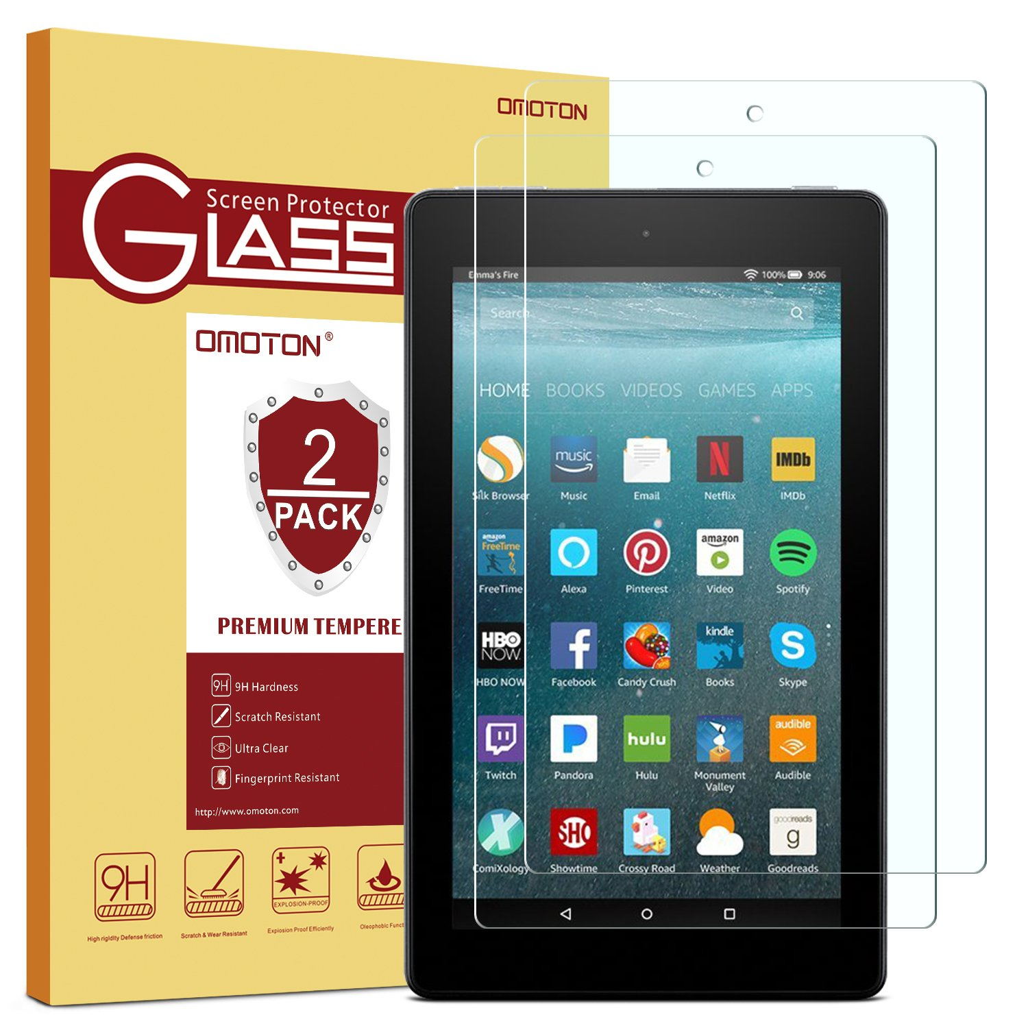 [2-Pack] All-New Fire 7 Screen Protector (2017 Release) - OMOTON Tempered Glass Screen Protector for All-New Fire 7 Tablet with Alexa (2017 Release)