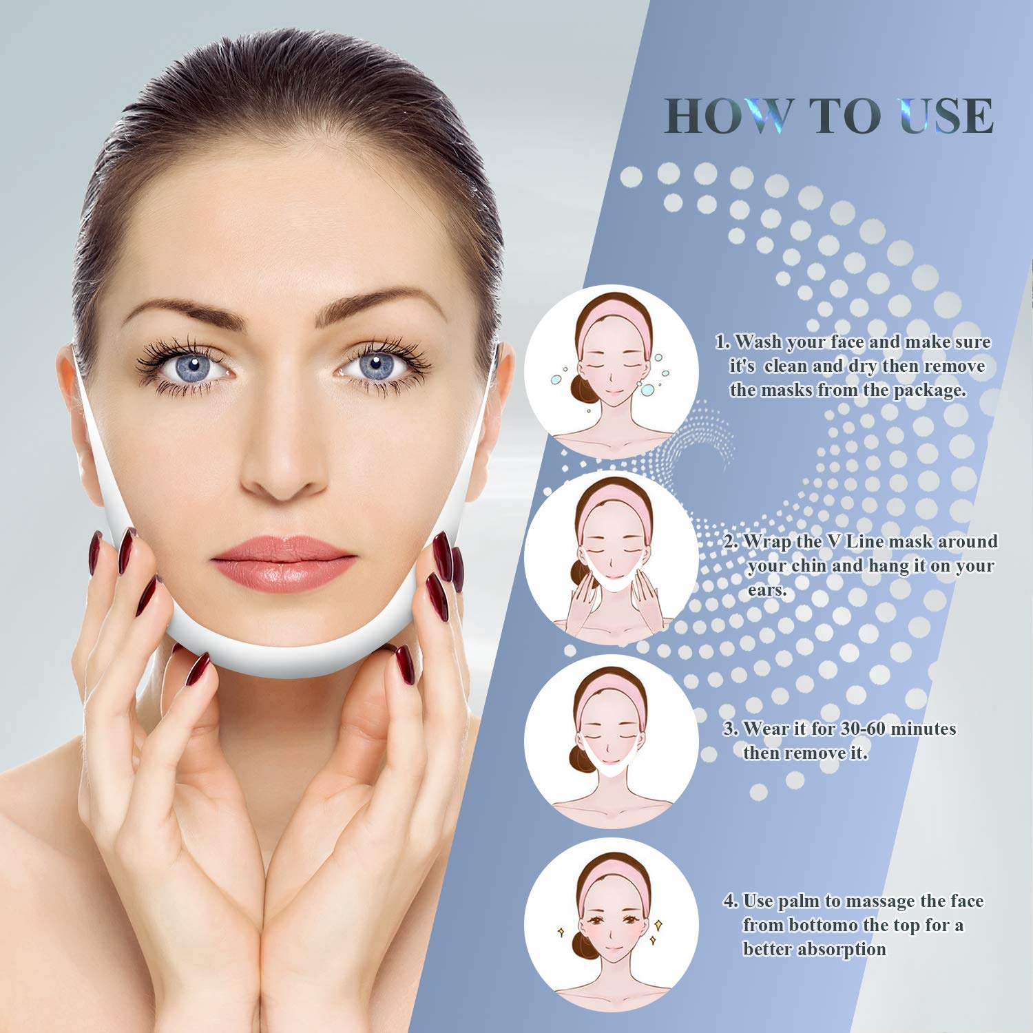 V Line Shape Face Lifting Mask, (7Pcs) Double Chin Reducer, Chin Up Patch Lifting Mask