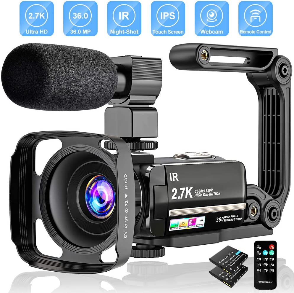 Videocámara Digital 2.7K UHD 36MP Vlogging Camera para Youtube IR Night Vision 3.0