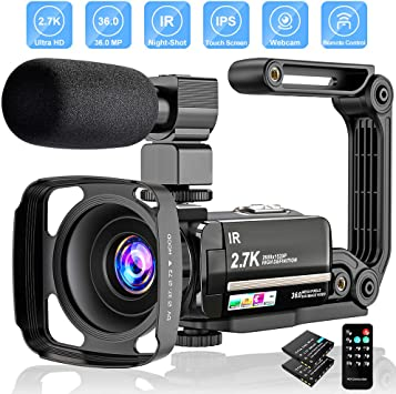 Camcorder Video Camera WiFi 2.7K Night Vision Vlogging Camera with Microphone 24MP 16X Digital Zoom Camcorder for YouTube Vlog Blogging 3.0 Inch Touch Screen
