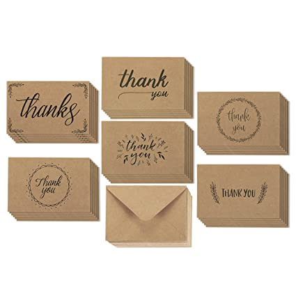 Amazon thank you cards 36 count thank you notes kraft paper thank you cards 36 count thank you notes kraft paper bulk thank you reheart Choice Image